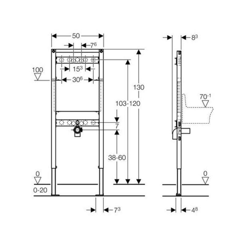 Rama Duofix de montaj pentru lavoar, 130 cm
