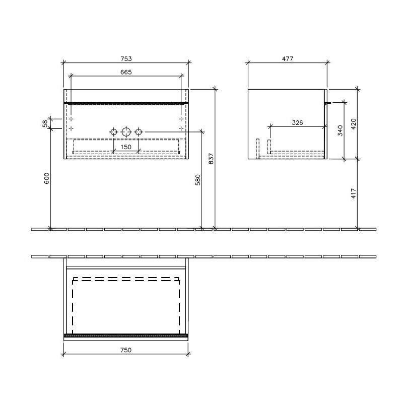 Mobilier suspendat, un sertar, terra mat, 75 cm, Venticello