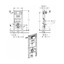 Schita rama Geberit, Duofix pentru WC suspendat, 112 cm, cu rezervor incastrat Omega 12 cm