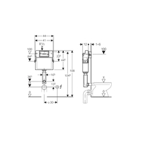 Rezervor ingropat pentru WC stativ, actionare din fata, 12 cm, Delta