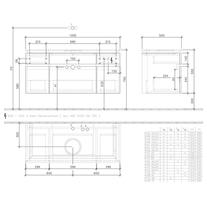 Mobilier suspendat pentru lavoar, 5 sertare, 120 cm, elm impresso, Legato