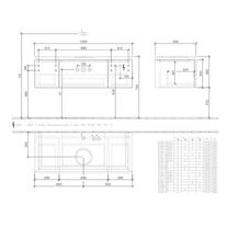Mobilier suspendat pentru lavoar, 3 sertare, 120 cm, elm impresso, Legato