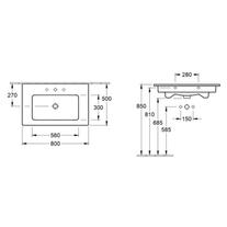 Lavoar dreptunghiular, cu orificu baterie si preaplin, 80 cm, alb, Venticello