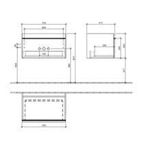 Mobilier suspendat, un sertar, 75 cm, gri, Venticello