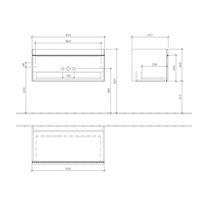 Mobilier suspendat, un sertar, 95 cm, sticla maro, Venticello
