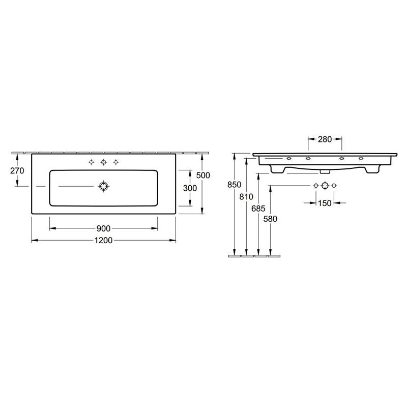 Lavoar dreptunghiular, cu orificu baterie si preaplin, 120 cm, alb, Venticello