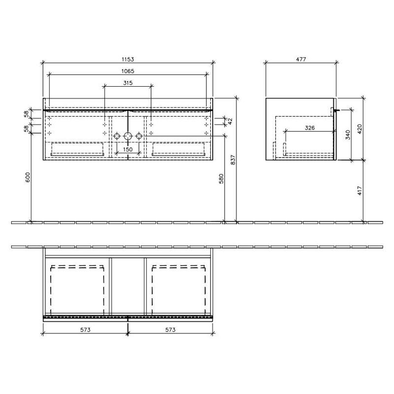 Mobilier suspendat, 2 sertare, 115 cm, alb lucios, Venticello