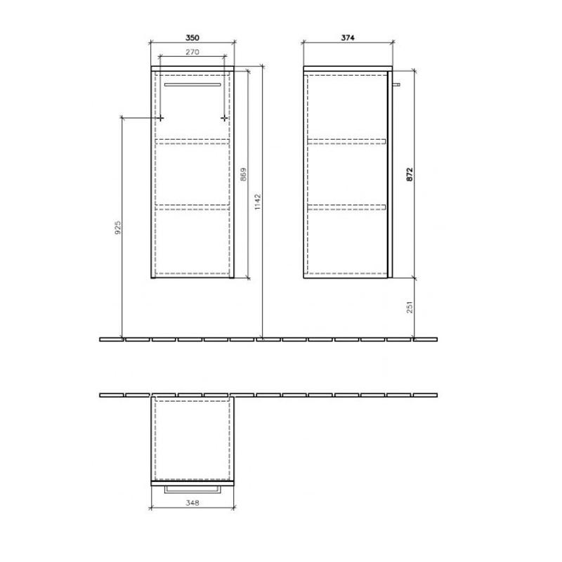 Dulap suspendat stanga, 35 x 89 cm, negru cristal, Avento