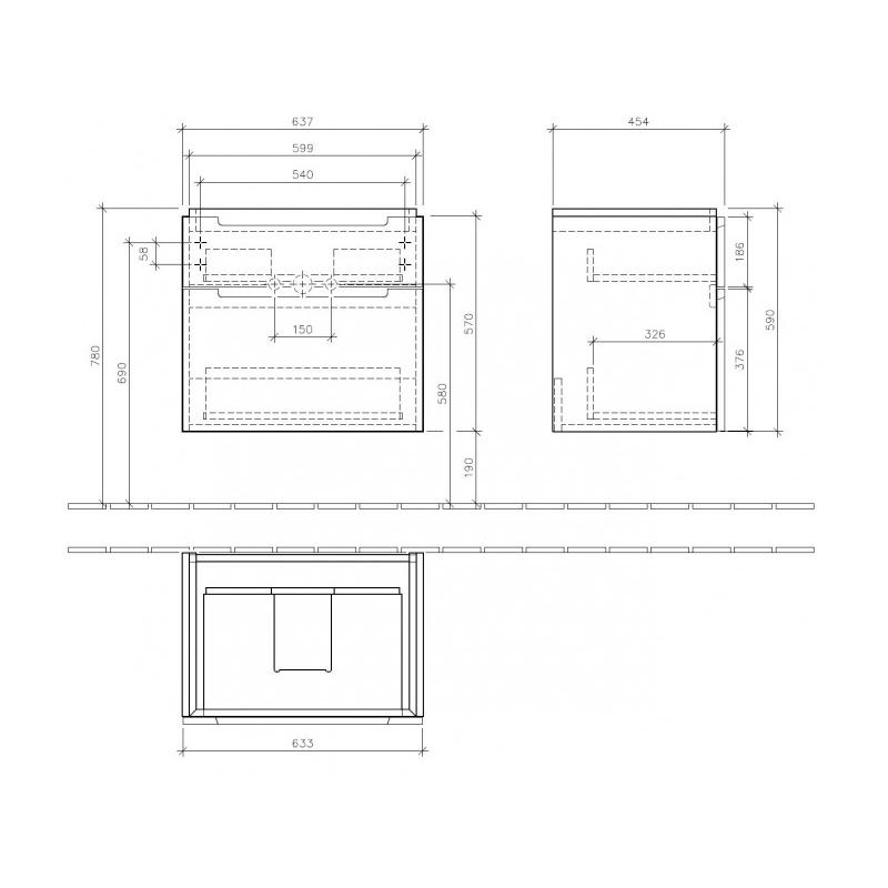 Mobilier suspendat, 2 sertare, 64 cm, alb lucios, Subway 2.0