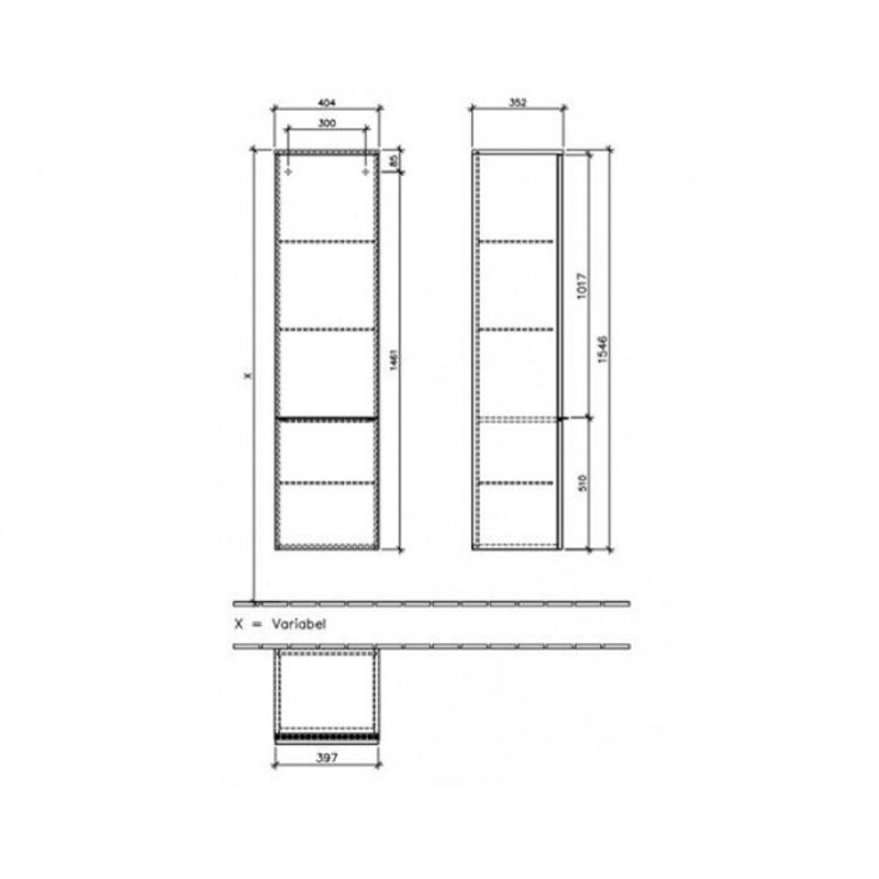 Dulap inalt suspendat, dreapta, 1 usa, 155 x 40 cm, alb, Venticello