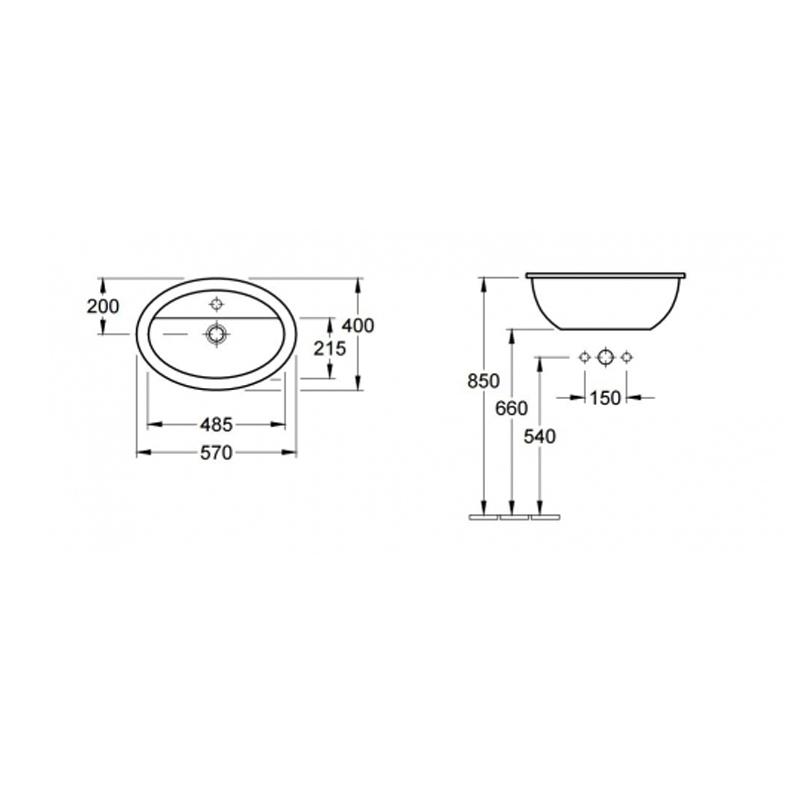 Lavoar oval incastrabil, fara preaplin, 66 cm, alb, Loop & Friends
