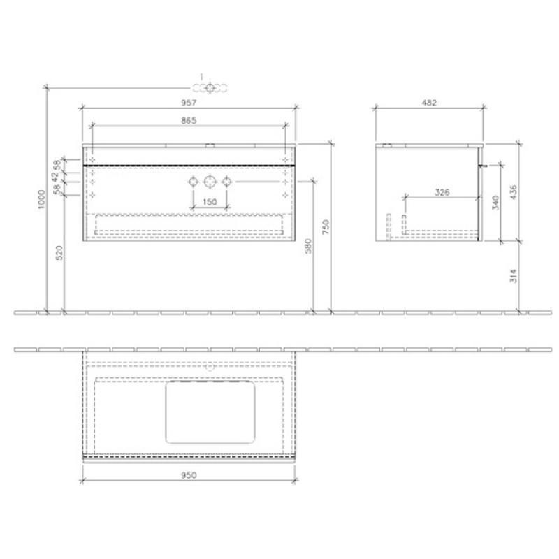 Mobilier suspendat, 2 sertare, 115 cm, negru mat, Venticello