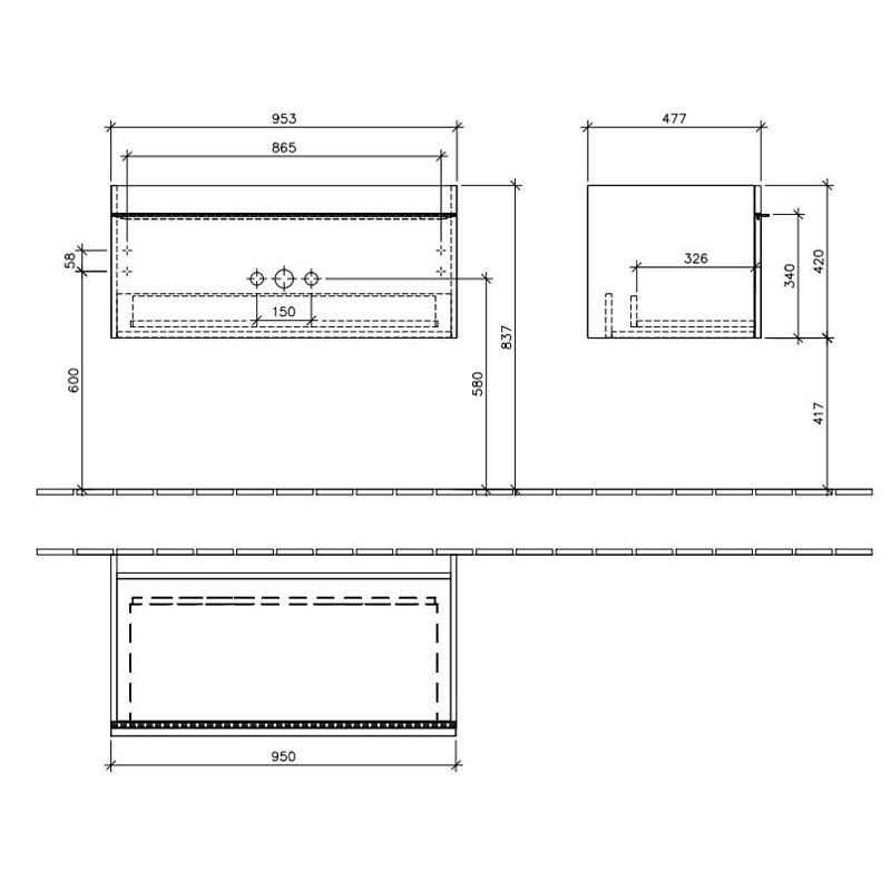 Set mobilier suspendat, un sertar, glass terra si lavoar pentru mobilier, alb, 100 cm, Venticello