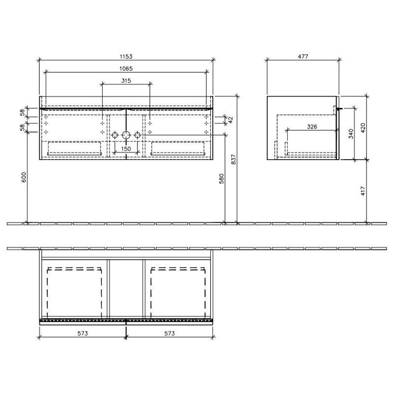 Set mobilier suspendat, 2 sertare, black matt lacquer si lavoar pentru mobilier, alb, 120 cm, Venticello