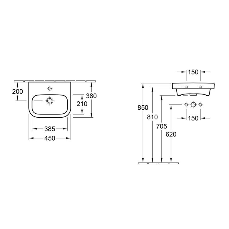 Lavoar cu orificu pentru baterie, fara preaplin, 45 cm, alb, Architectura