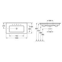 Lavoar dreptunghiular, cu orificu baterie si preaplin, 100 cm, alb, Venticello