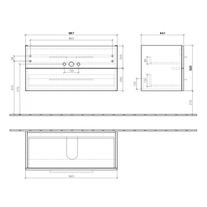 Mobilier suspendat, 2 sertare, 97 cm, negru cristal, Avento