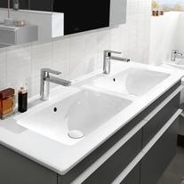 Lavoar suspendat, dublu, 130 cm, alb alpin, Venticello