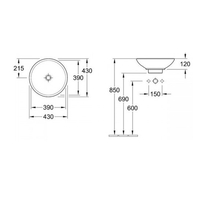 Lavoar rotund, fara orificiu pentru baterie, 43 cm, alb, Loop & Friends