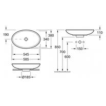 Lavoar oval, pe blat, 58 cm, alb, Loop & Friends