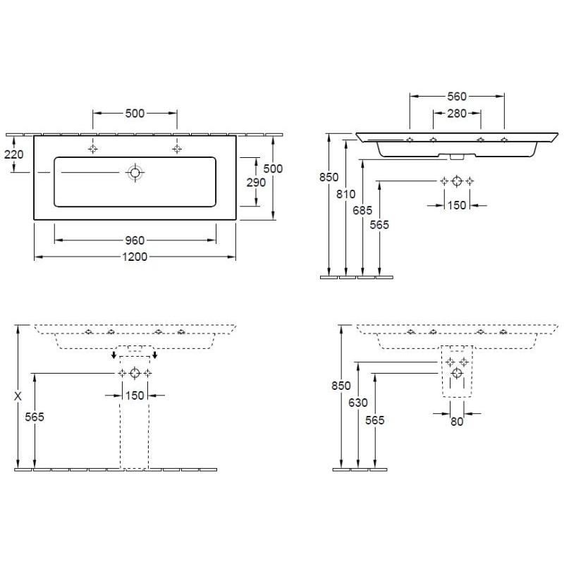 Lavoar suspendat, 2 orificii pt baterie si preaplin, 120 cm, alb, Legato