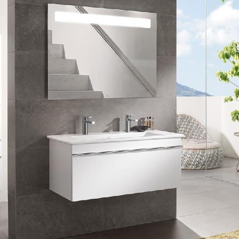 Lavoar suspendat, dreptunghiular, ceramic plus, 100 cm, alb, Venticello