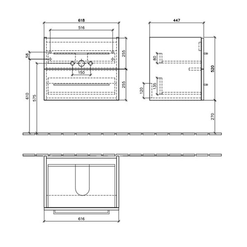 Mobilier suspendat, 2 sertare, 62 cm, crystal white, Avento