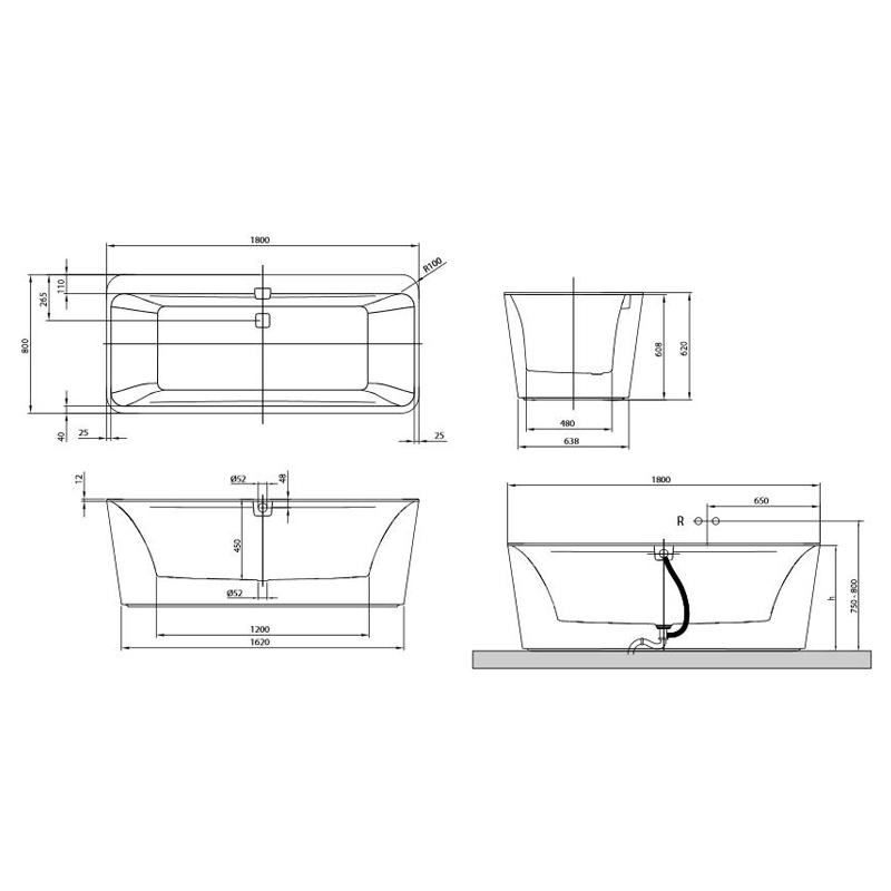 Cada dreptunghiulara, free standing, 180 x 80 cm, alb, Squaro Edge
