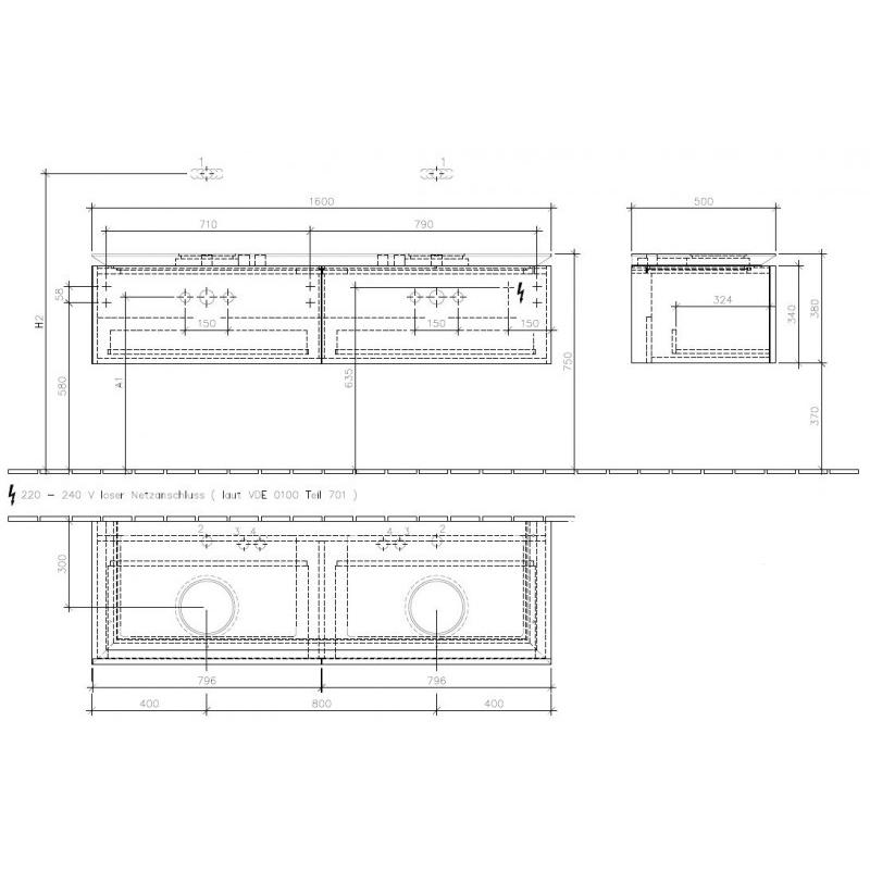 Mobilier suspendat pentru lavoar, 2 sertare, 160 cm, elm impresso, Legato