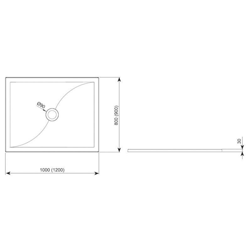 Cadita dreptunghiulara, 120x90 cm, schita
