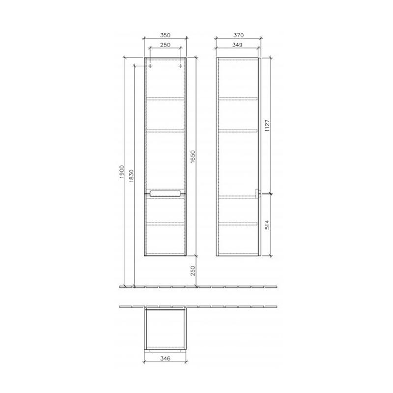 Dulap suspendat, pe dreapta, 35 x 165 cm, alb lucios, Subway 2.0
