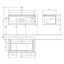 Mobilier suspendat pentru lavoar, cu LED, 100 cm, elm impresso, Legato