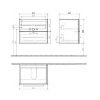 Mobilier suspendat pentru lavoar, 2 sertare, 62 cm, negru, Avento