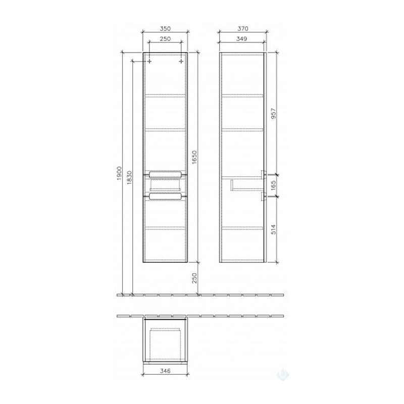 Dulap suspendat, pe stanga, 35 x 165 cm, gri lucios, Subway 2.0