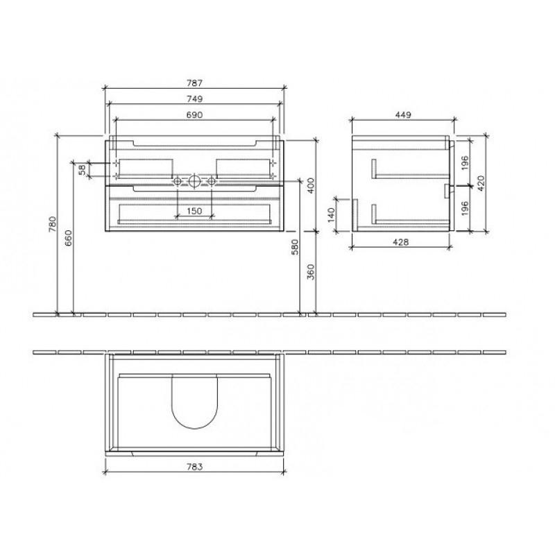 Mobilier suspendat pentru lavoar, 2 sertare, 79 cm, santana oak, Subway 2.0