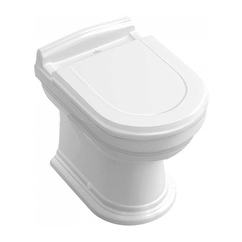 Capac WC Villeroy & Boch, Hommage, soft close, tratament CeramicPlus, alb cu feronerie alama