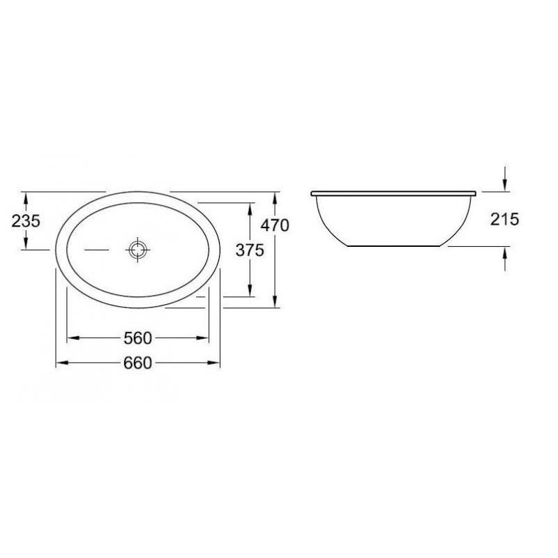 Lavoar incastrat sub blat, 56 cm, alb alpin, Loop & Friends