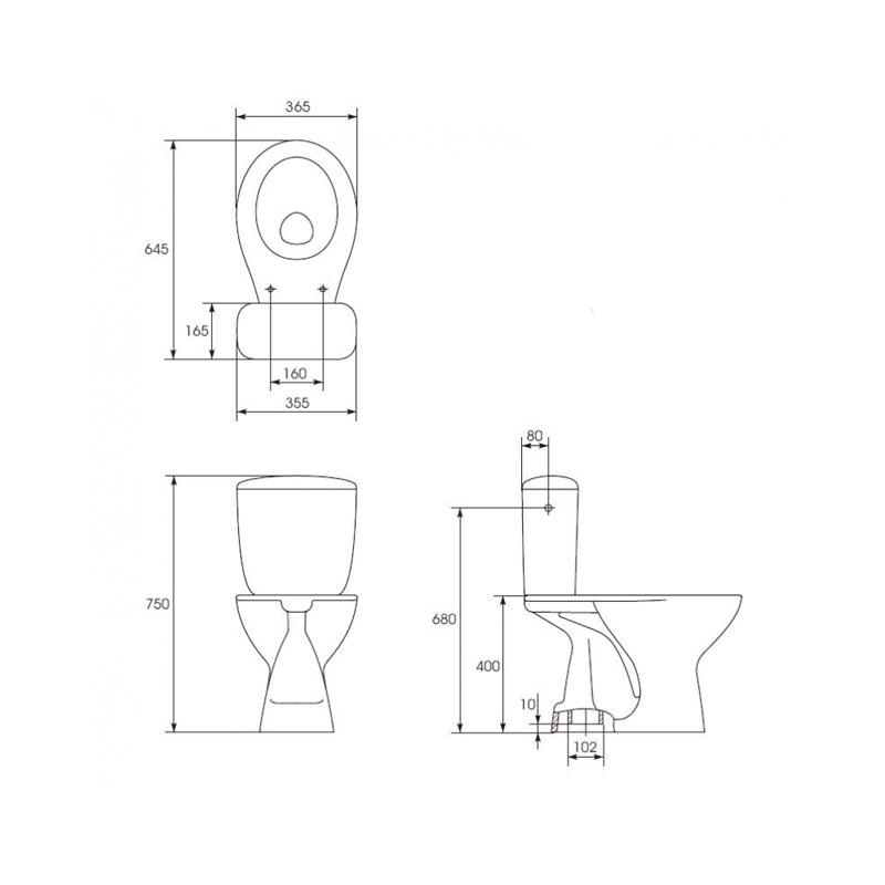 Set vas WC Cersanit, President, evacuare verticala, cu rezervor si capac inclus, alb