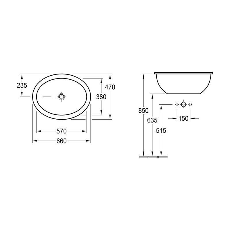 Lavoar incastrat, oval, 66 cm, alb alpin, Loop & Friends