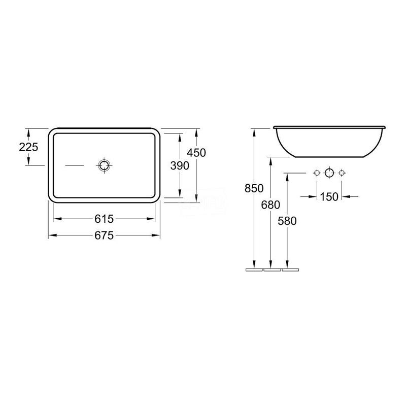 Lavoar incastrat, dreptunghiular, 68 cm, alb alpin, Loop & Friends
