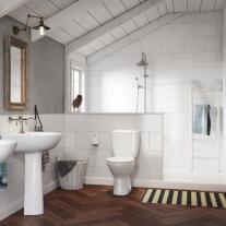 Set vas WC stativ Cersanit, President, cu rezervor si capac din polipropilena inclus, alb