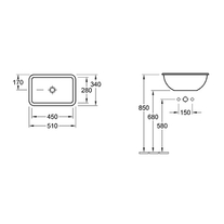 Lavoar incastrat Villeroy & Boch, Loop & Friends, 51 cm, dreptunghiular, alb alpin