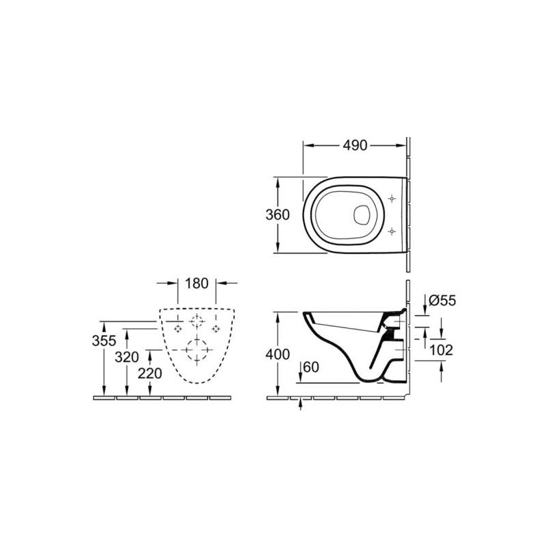 Set vas WC Villeroy & Boch, O.Novo, suspendat COMPACT, cu capac soft close, alb