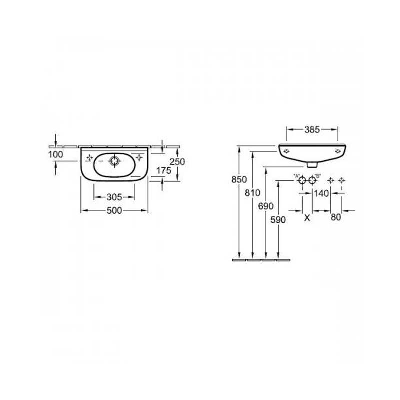 Lavoar dreptunghiular, suspendat, 50 cm, alb alpin, O.Novo