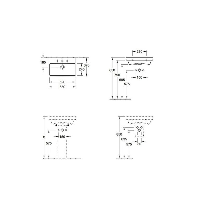 Lavoar dreptunghiular, compact, suspendat, 55 cm, alb alpin, Avento