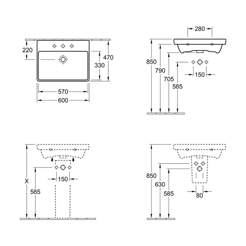 Lavoar dreptunghiular, suspendat, 60 cm, alb alpin, Avento