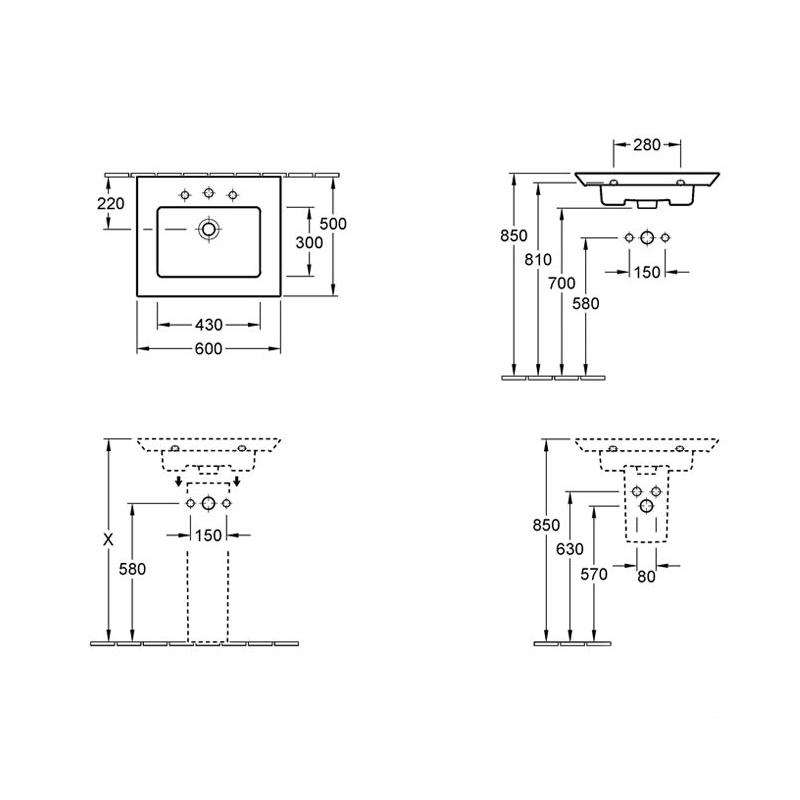 Lavoar suspendat, dreptunghiular, 60 cm, alb alpin, Legato