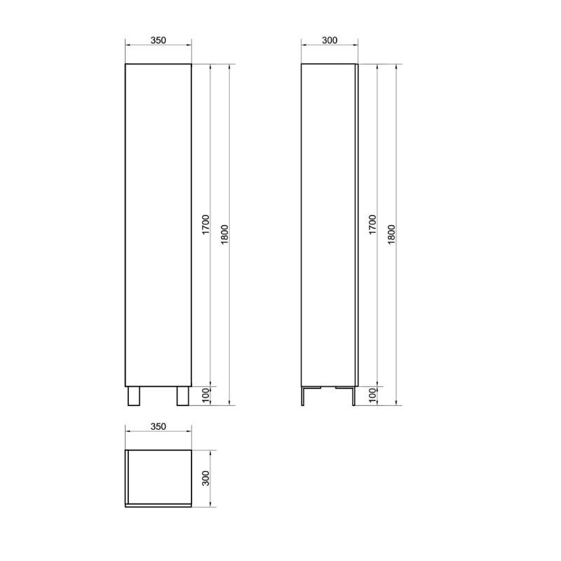 Dulap coloana Cersanit, City, cu o usa, 180 cm, stejar