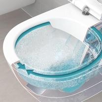 Set vas WC suspendat Villeroy & Boch, Avento, direct flush, cu capac slim, soft close, quick release, alb
