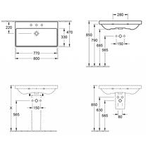 Lavoar dreptunghiular, 80 cm, alb alpin, Avento